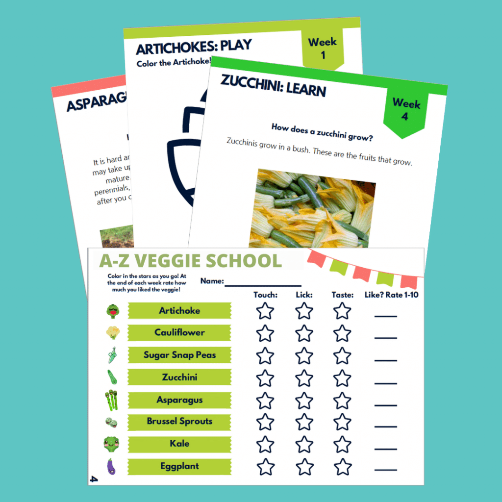 A to Z Veggie School Lesson Guide Snapshots