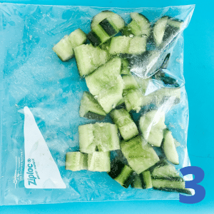 Step 3 Put cucumbers in a bag and smash responsibly