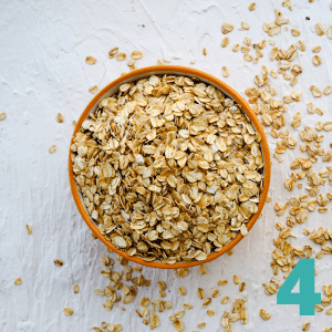 Step 4 Add ¼ tsp Salt, 4 cups Rolled Oats, and 1 cup chopped walnuts or nut mix