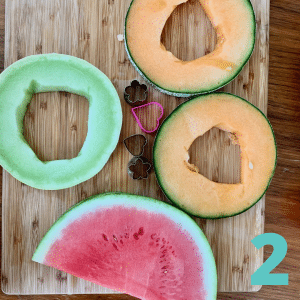 Step 2 Cut cross-sections of melon into 1 inch slices and remove seeds