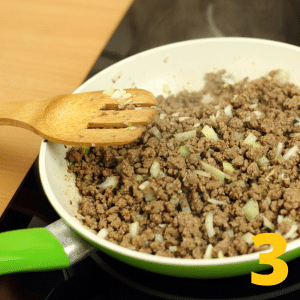 Step 3 Sautee 1/2 diced onion, 1 lb of ground turkey and 1/2 packet of taco seasoning