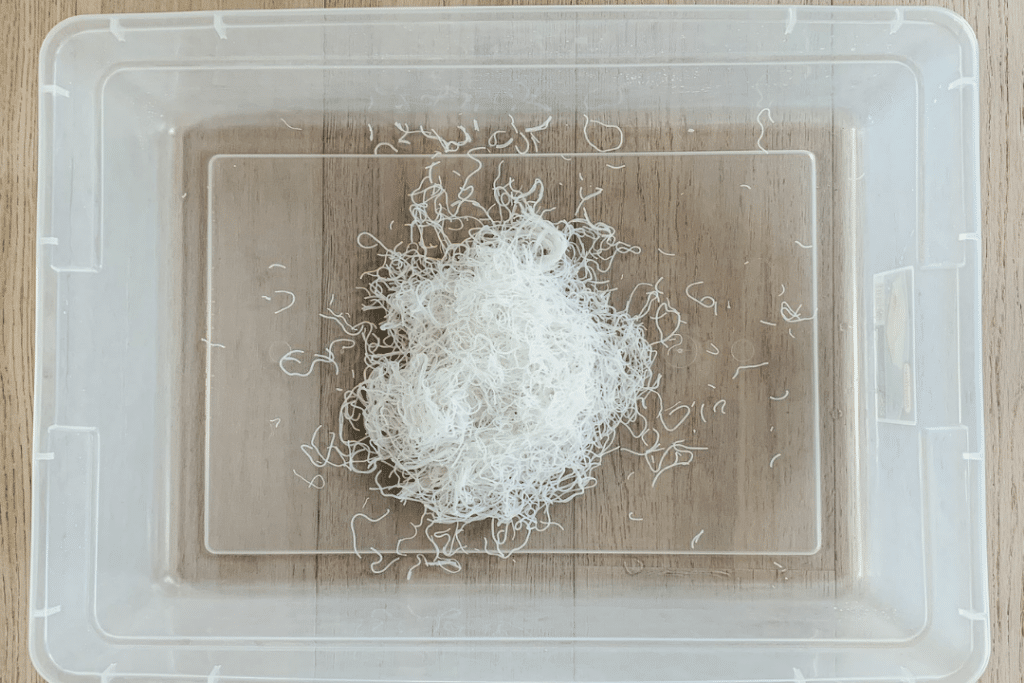 sensory bin with rice noodles