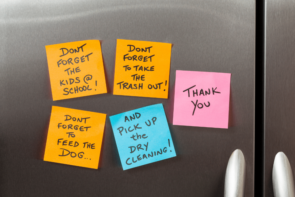 tricks to remember how to read labels. sticky notes!