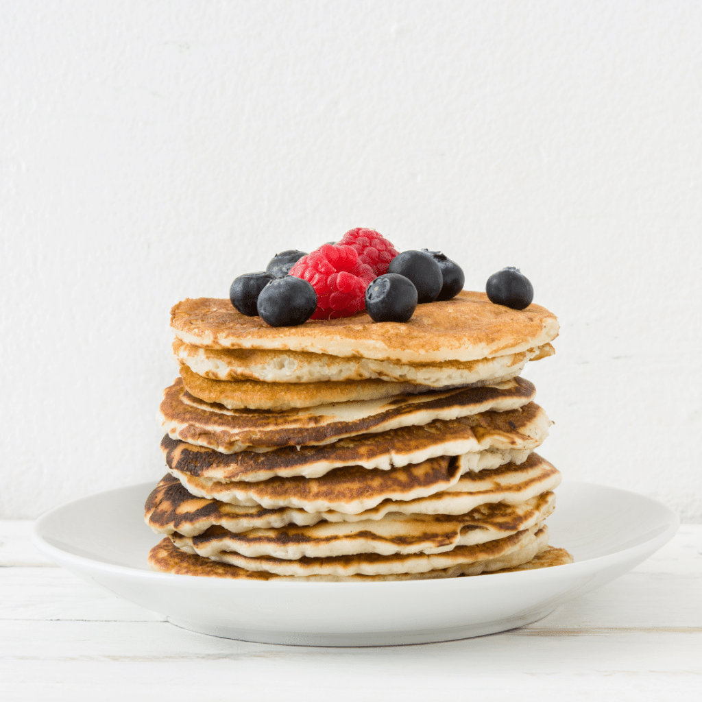 stack of blueberry and banana pancakes ready to eat