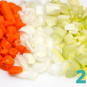 step two: chop 1 onion, 1 cup carrots, 1 cup celery and 1 cup curly parsley